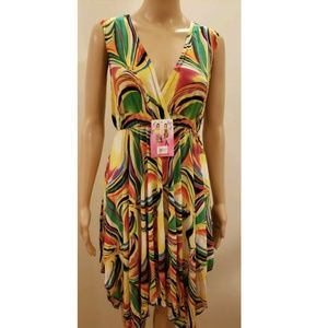 Deep V-neck Abstract Print Dress Yellow Green